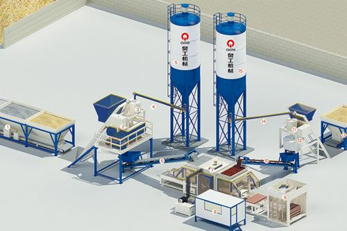 Semi Automatic Concrete Block Production Line, with Central Control Room